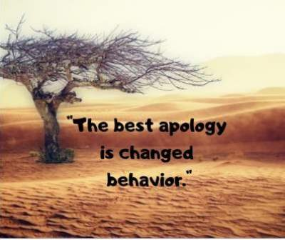 changed behavior and apology status quotes