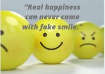 status quotes on real happiness and fake smile with emoji