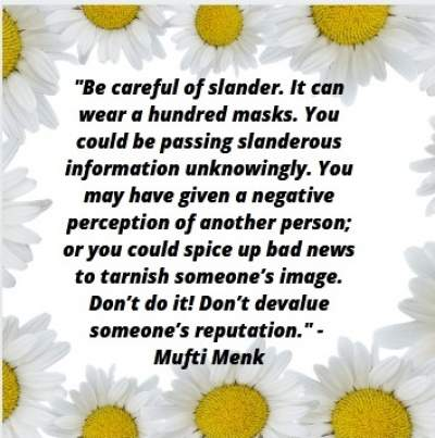slander quotes by Mufti Menk